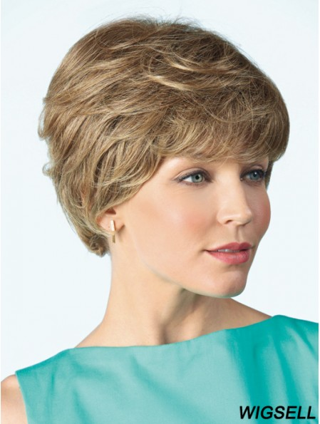 Monofilament Wig Human 100% Hand Tied Curly Style Short Length Boycuts