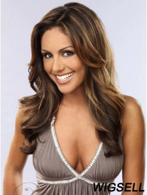 Long Wavy Wig Indian Remy Hair Lace Front Wig Without Bangs