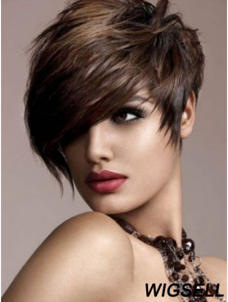 Human Hair Brown Wig Straight Style Short Length Boycuts