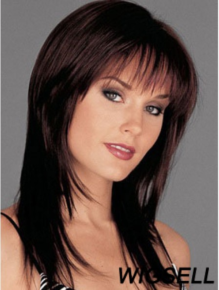 Auburn Long Wig Monofilament Wig With Bangs 100% Human Hair