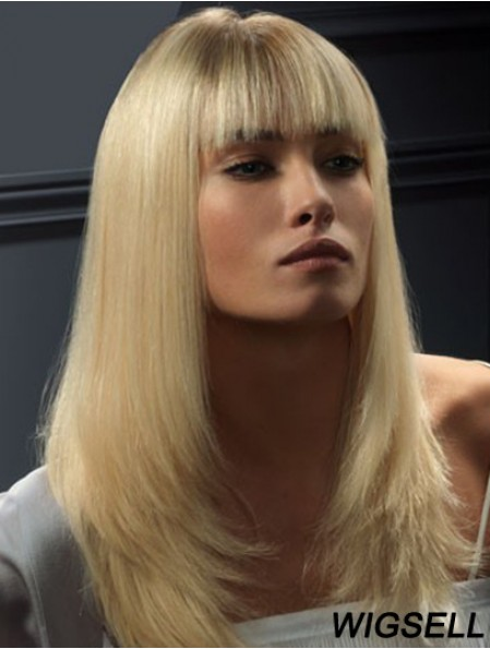 Lace Front Wigs Human Hair Straight Style Blonde Color With Bangs