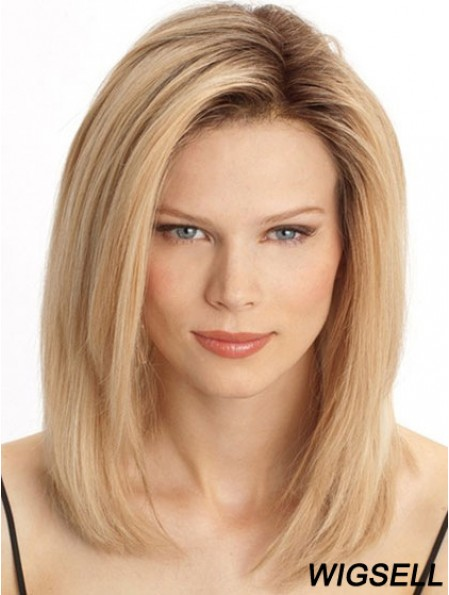 Cheap Monofilament Human Hair Wigs Sale Blonde Color Shoulder Length