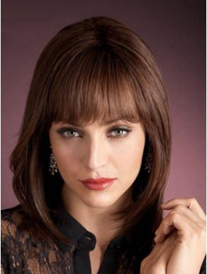 Auburn Wig Shoulder Length Wig With Bangs in Human Hair