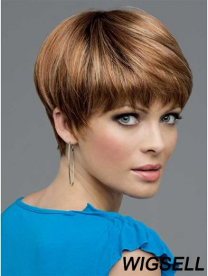 UK Mono Wigs Human Hair Brown Color Boycuts Lace Front