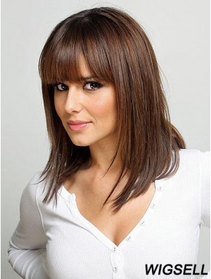 Shoulder Length Brown Wig With Bangs Straight Hair Human Hair Wig Cheap