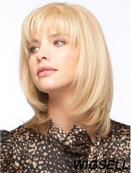 Human Hair Monofilment Wigs With Bangs Monofilament Straight Style