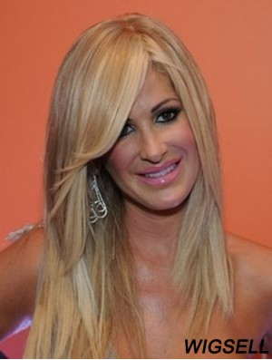 Long Wig Kim Zolciak Blonde Lace Front Wig Human Hair 16 Inch