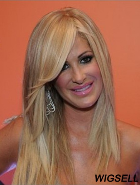 Long Wig Kim Zolciak Blonde Lace Front Wig Human Hair 16 Inch