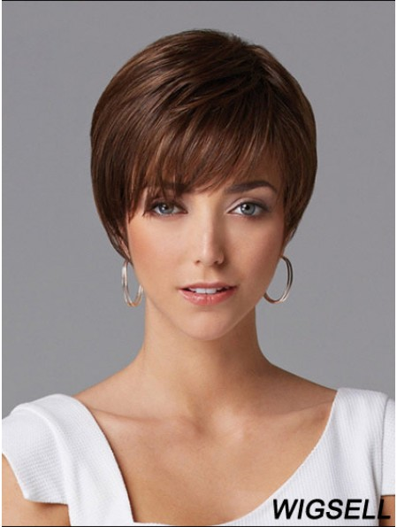 Hair Wigs For Women Cropped Length Straight Style Auburn Color