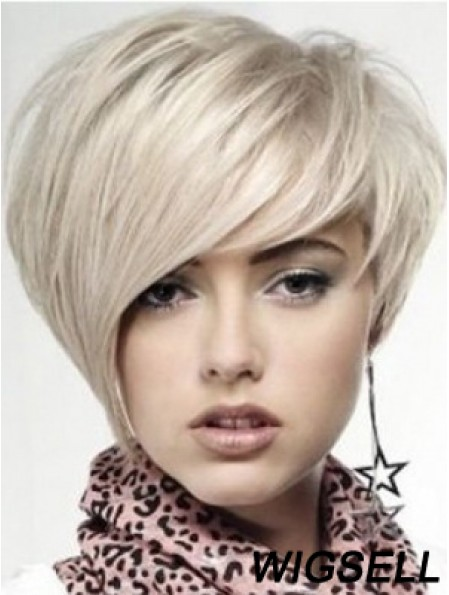 Human Hair Straight Wigs With Monofilament Blonde Color Chin Length