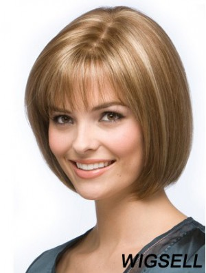 Bob Hairstyles For Women Remy Human Chin Length Blonde Color