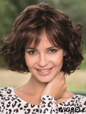 Wavy Wigs Human Hair Wigs With Bangs Brown Hair Chin Length