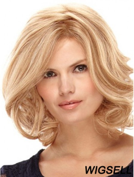 Blonde Shoulder Length High Quality Curly Layered Lace Wigs
