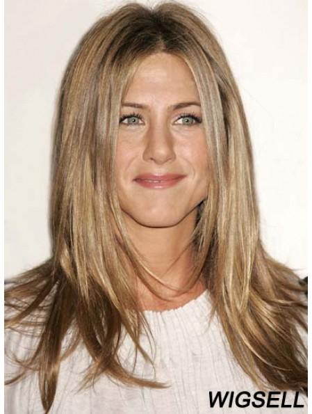 Remy Human Lace Front Mono Blonde Straight Layered Jennifer Aniston Wig