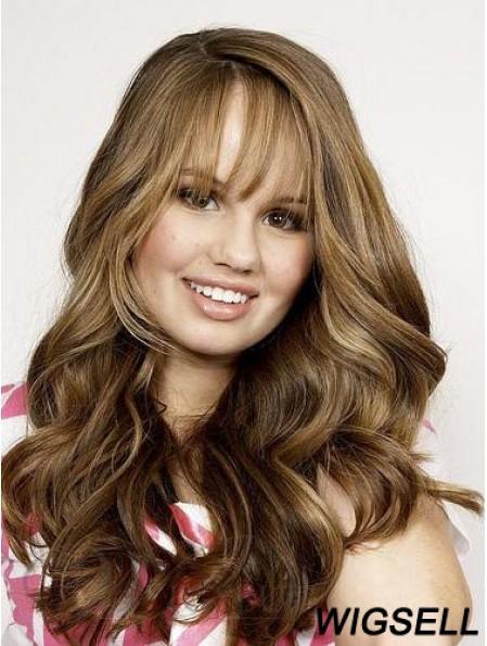 Full Head Human Hair Brown With Bangs Wavy Style
