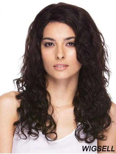 "Brazilian 16"" Capless Long Brown Human Hair Curly Wig"
