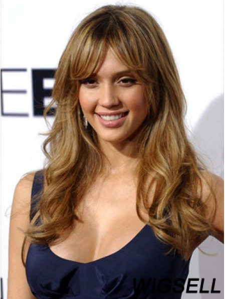 Remy Human Monofilament With Bangs Jessica Alba Human Hair Wigs