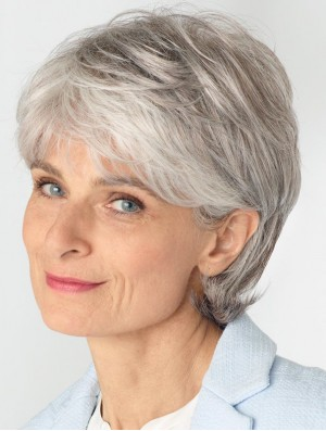 Ladies Grey Wigs With Lace Front Remy Human Straight Style