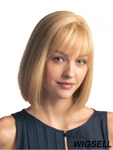 Monofilament Chin Length Blonde Bobs Remy Human Hair Bob Wig