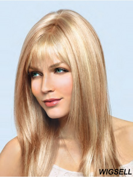 Long Wig UK Straight Human Hair Wig Blonde Hair 16 Inch