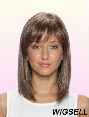 100% Glueless Human Hair Lace Front Wigs With Bangs Stright Style