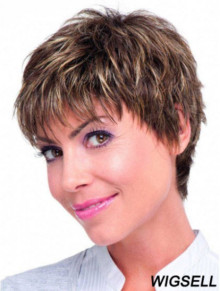 Human Hair Monofilament Topper Brown Color Straight Style Boycuts