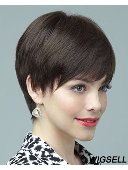 Black Wig Layered Cut Shot Wig For Women Full Lace Wig Human Hair 6 Inch