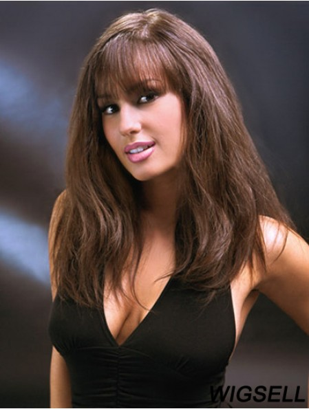 Glueless Full Lace Wigs With Bangs Long Length Auburn Color