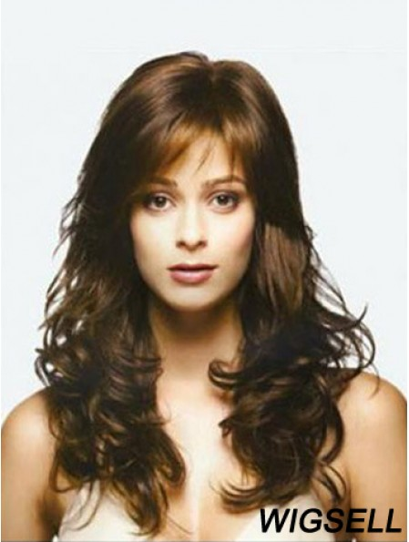 Brown Long Top Wavy With Bangs Human Hair Lace Wigs