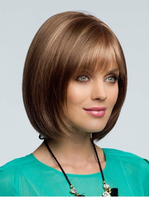 Bob Wig Remy Human Hair Wig With Bangs Lace Front Wig For Ladies