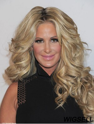 Long Blonde Wig Kim Zolciak Lace Front Wig UK For Women Human Hair 24 Inch