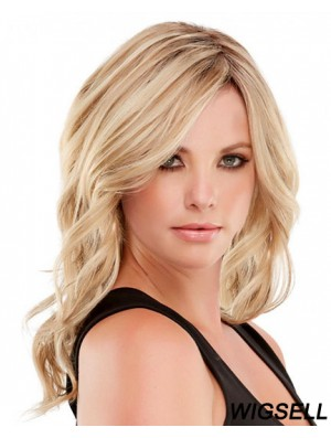 Handsome Human Hair Wavy Style Blonde Color Layered Cut