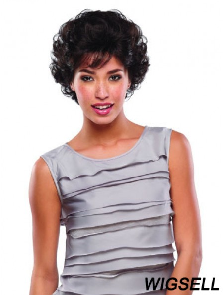 Short Curly Human Hair Lace Wigs Brown Color Classic Cut