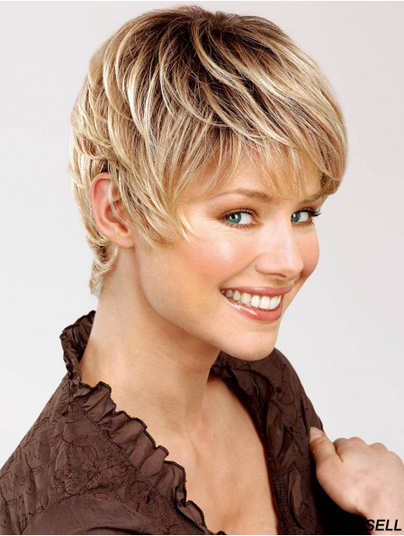 Blonde Wig True 100% Hand Tied Short Length Straight Style