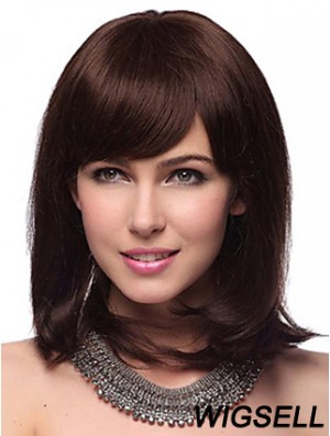 Auburn Synthetic Wig With Bangs Capless Shoulder Length Auburn Color