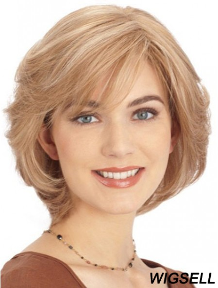 Human Hair Lace Front Monofilament Top Wigs Blonde Color Chin Length