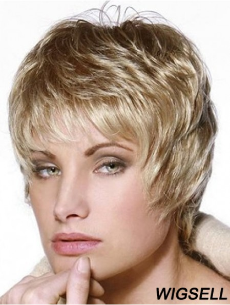Short Wig 100% Hand Tied Straight Style Cropped Length Layered Cut
