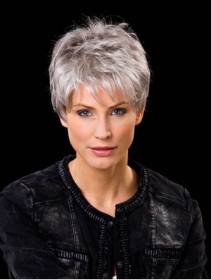 Real Hair Wigs Short Cropped Hand Tied Wig For Ladies