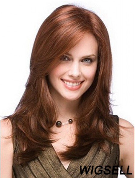 Monofilam Remy Human Long Straight Layered Mono Top Wig