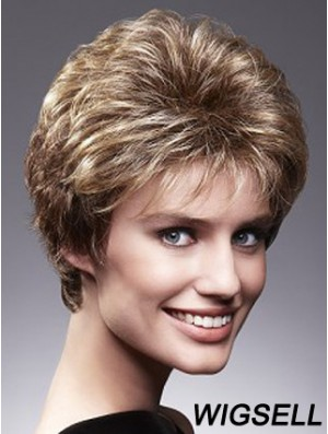 Ladies Wigs Brown Short Hair Cropped Human Hair Wigs UK