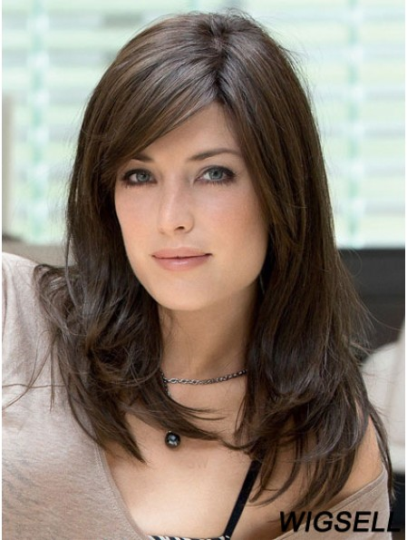 Human Hair Lace Front Wig With Bangs Brown Color Long Length