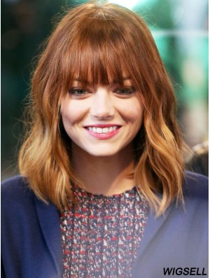 Lace Front Emma Stone Wigs Human Hair UK With Bangs Wavy Style Cropped Color
