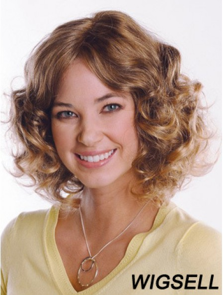 Synthetic Curly Chin Length Capless Curly Style Brown Color