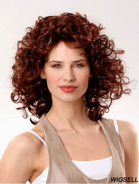 Cheap Human Hair Wigs UK 100% Hand Tied Curly Style Shoulder Length