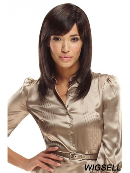 With Bangs Shoulder Length Brown Straight Fashionable Petite Wigs