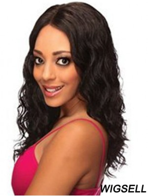 Human Lace Front Wigs Black Color Shoulder Length Wavy Style