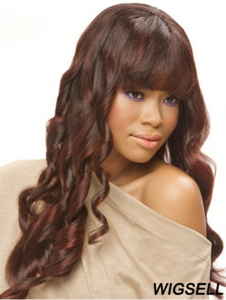 22 inch Auburn Long With Bangs Curly Top Lace Wigs
