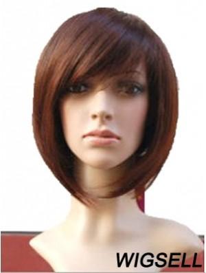 Auburn 10 inch Wavy Short Remy Human Hair Monofilament Bob Wigs