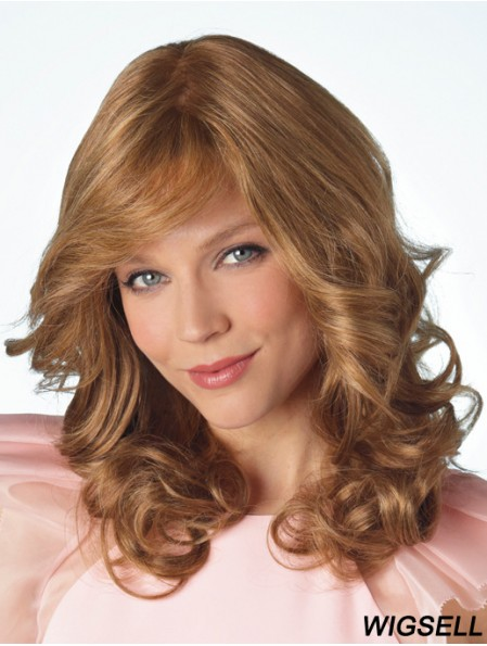 Long Curly With Bangs Beautiful Blonde Lace Front Wigs