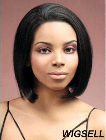 Lace Front Chin Length Yaki Black Stylish Bob Wigs